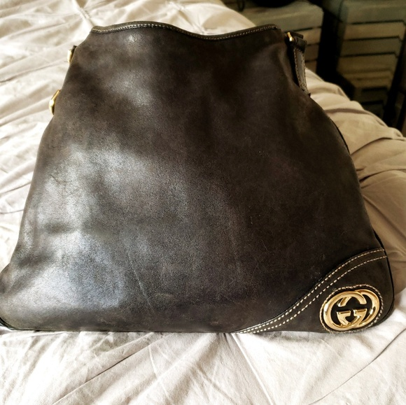 Gucci Handbags - GUCCI❤AUTHENTIC BLACK LEATHER BRITT HOBO